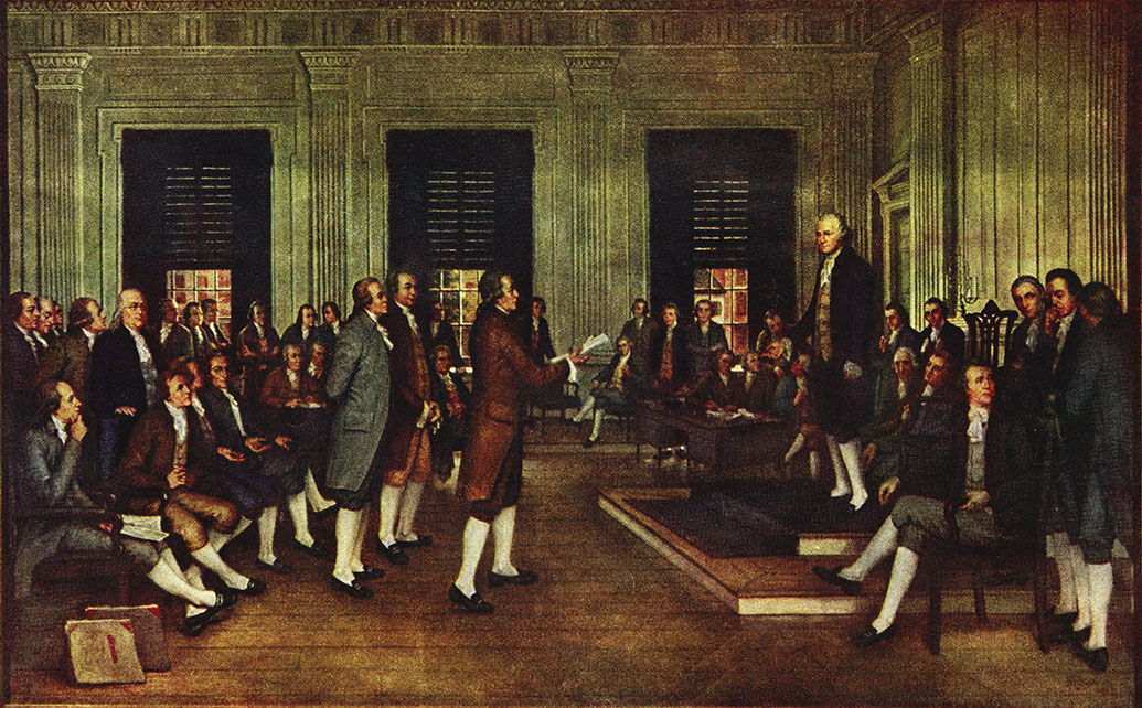 The Adoption of the U.S. Constitution in Congress at Independence Hall, Philadelphia, Sept. 17, 1787 by John H. Froehlich.